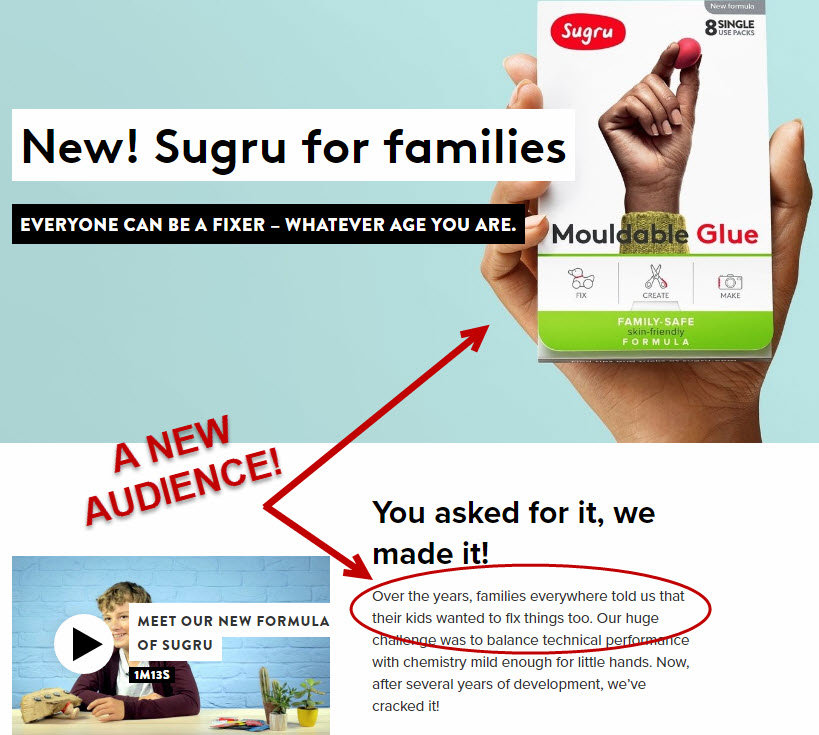 Sugru for families landing page