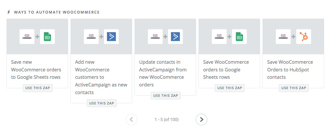 WooCommerce Zapier options.