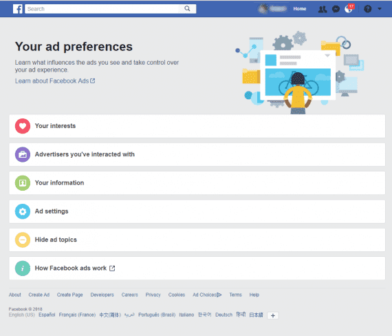 "Facebook users can go to ""Your ad preferences"" and see the variables that determine which ads they see."