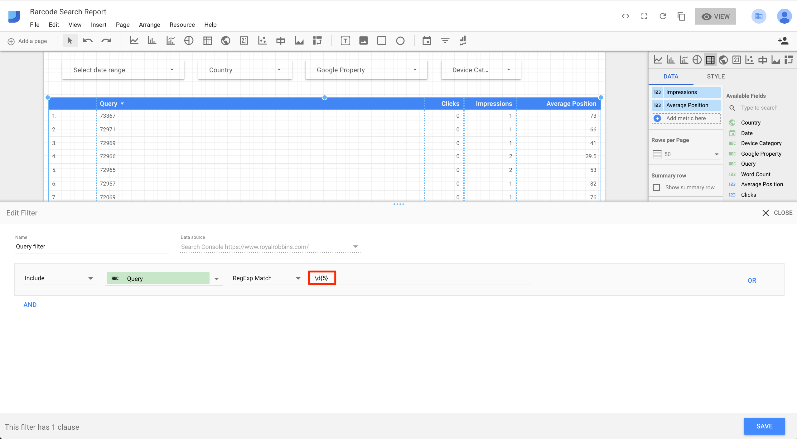 In Google Data Studio, you can create a filter directly, in this case for SKUs that have exactly five numbers.