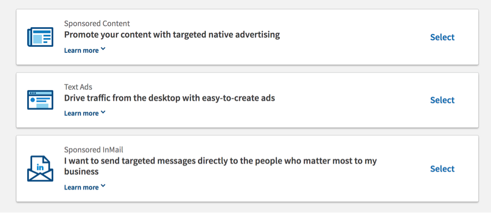 LinkedIn offers three ad options: Sponsored Content, Text Ads, and Sponsored InMail.