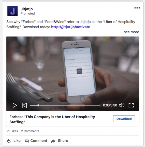 "Sponsored content ad with video and a ""Download"" call to action."