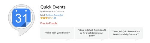 Alexa skill for Quick Events.