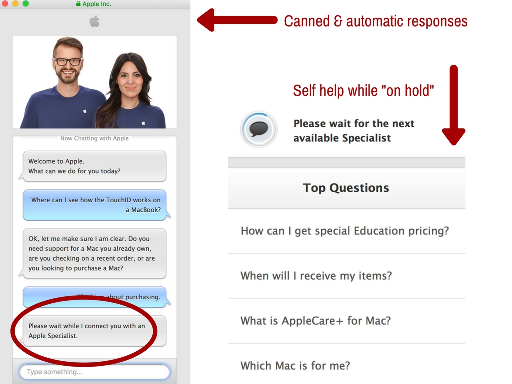 Screenshot of Apple's initial automatic and canned responses and faqs while waiting for an agent.