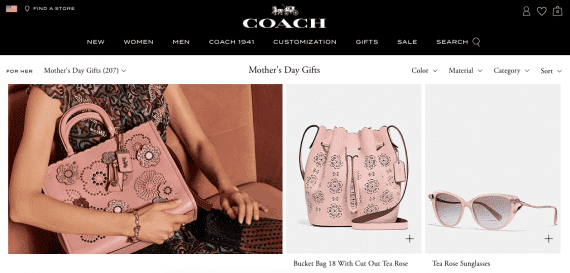 Coach landing page that conveys products are suitable for several age groups.
