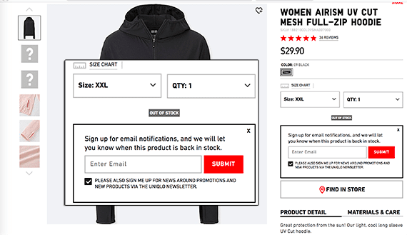 Give shoppers the opportunity to sign up for a notification when the item becomes available.