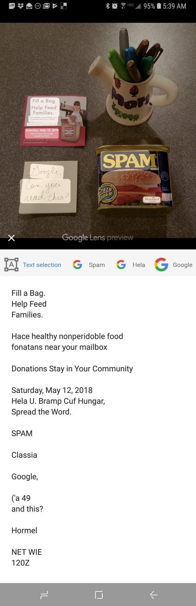 Text recognition in Google Lens is impressive but has room for improvement.