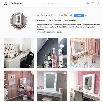 Hollywood Mirrors' Instagram account includes photos from influencers.