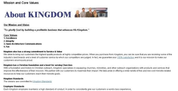 A page on Kingdom's website explains the company's Christian commitments.