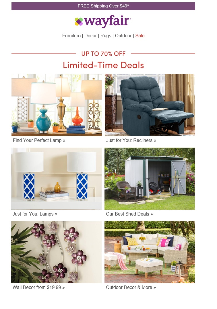 The right side of the Wayfair email featured recliners and sheds, which were not relevant to the author's need.