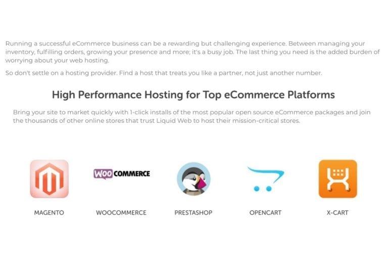 High performance hosting for top ecommerce platforms. <em>(Click to enlarge.)</em>