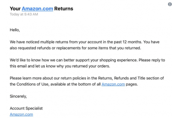 An example of a warning email from Amazon to a customer who has returned products.