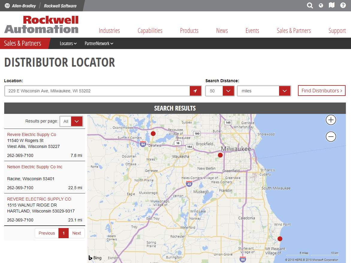 Rockwell Automation dealer locator page.