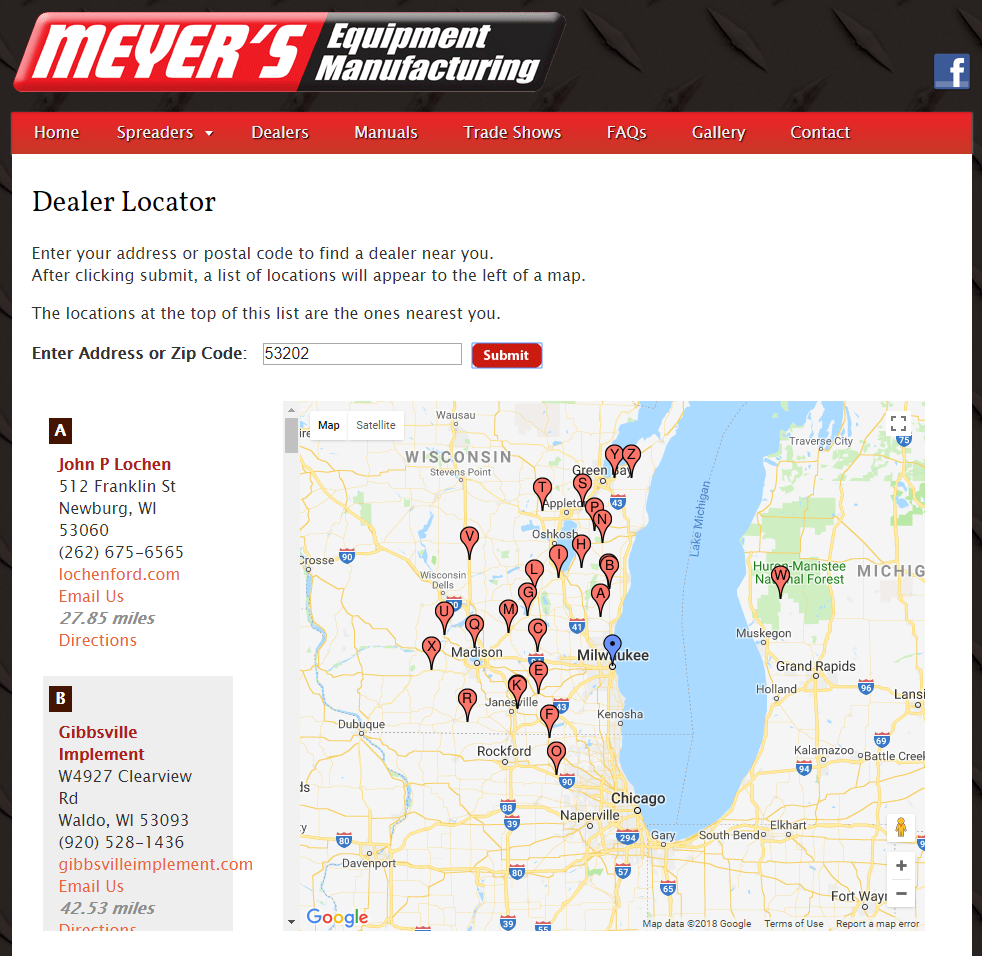 Meyer's Equipment Manufacturing dealer locator is driven by JavaScript.