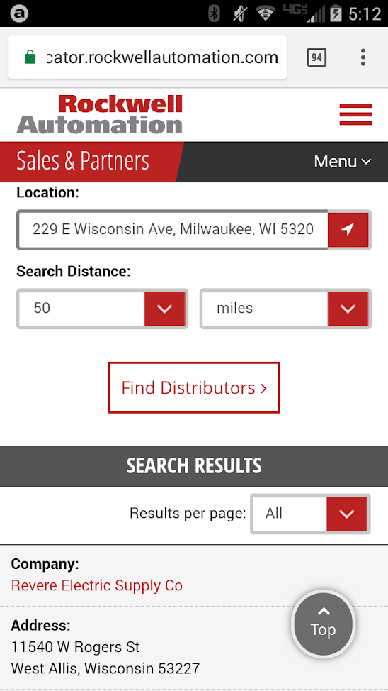 Rockwell Automation also has a clean and usable mobile distributor locator.