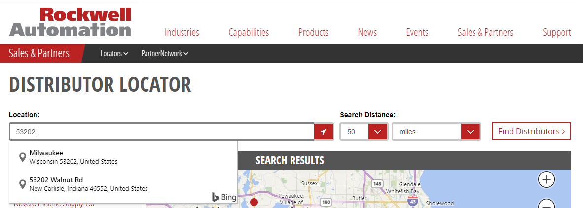 The Rockwell Automation distributor locator has an auto-detect for address and Bing autocomplete.