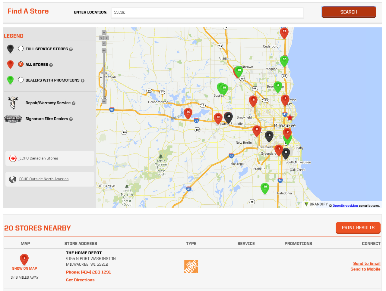 Echo uses colors to show different types of dealer locations.