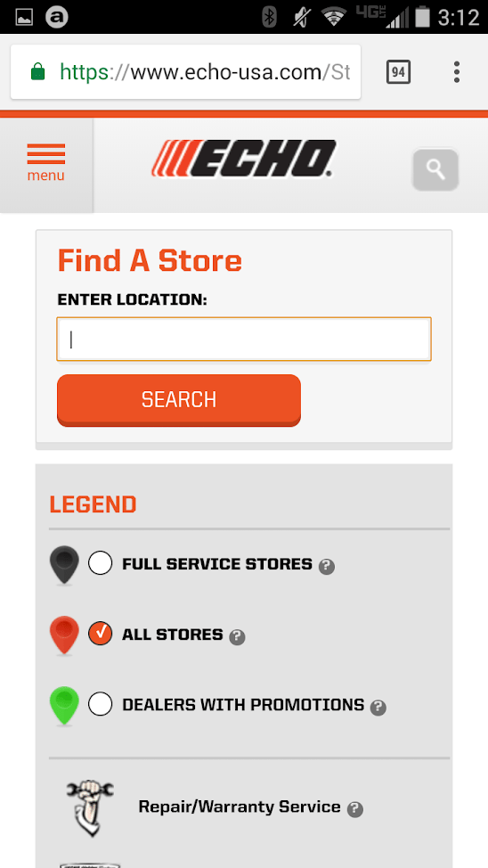 ECHO USA has an easy-to-use mobile store locator.