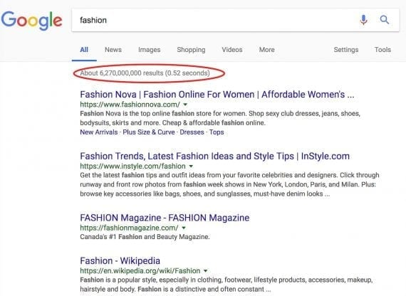 "For the author's search on ""fashion,"" Fashion Nova ranks number 1."