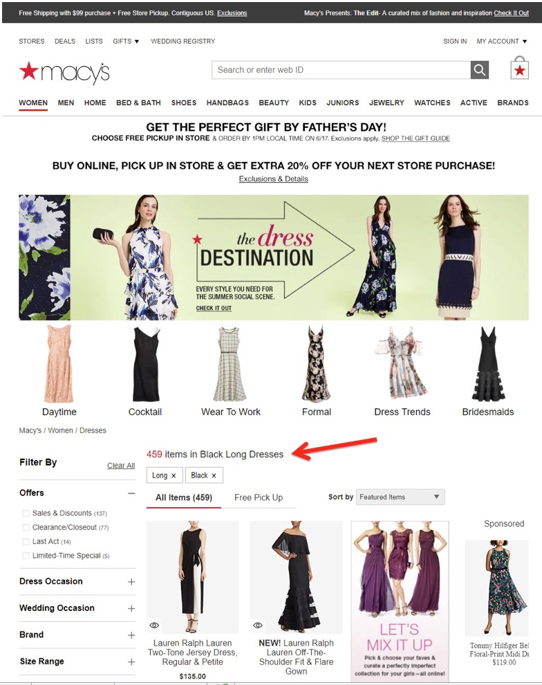 "Macy's offers crawlable faceted pages — ""Black Long Dresses"" — to search engine bots."