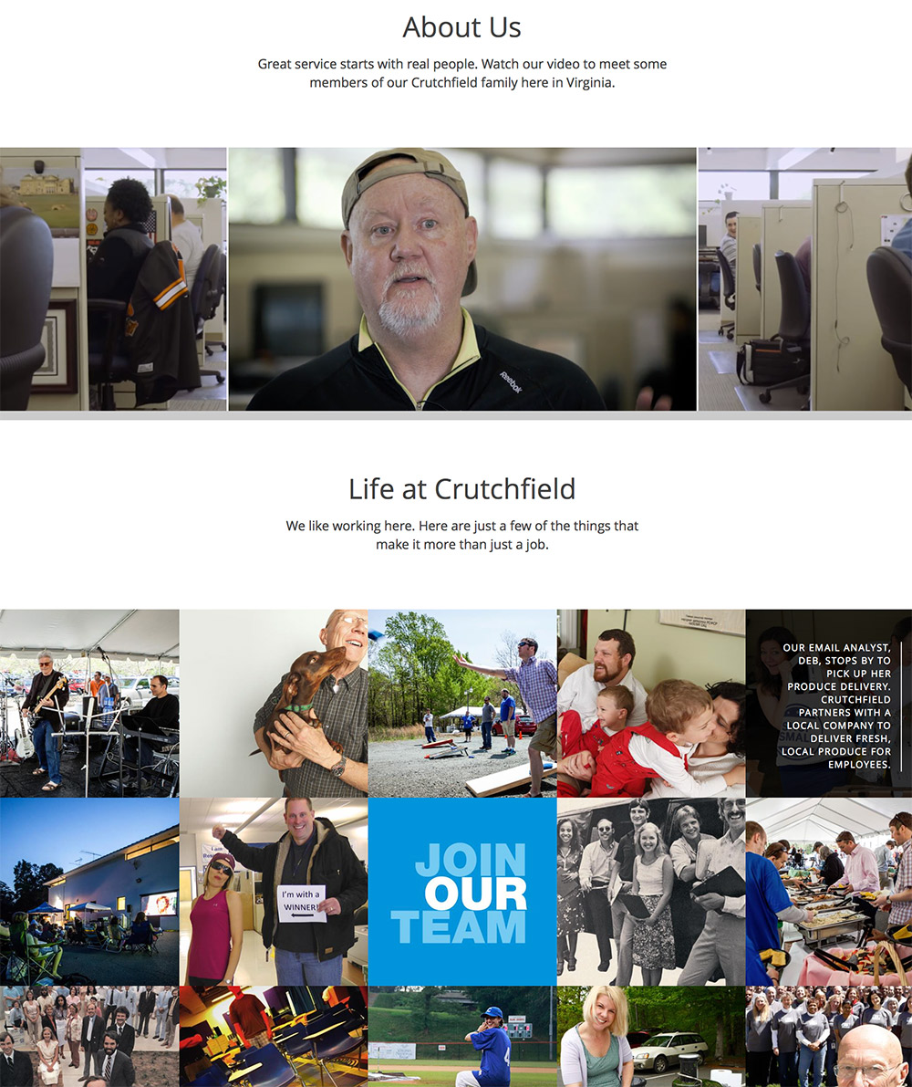 Crutchfield uses its biggest asset — the people who work there — to market the company.