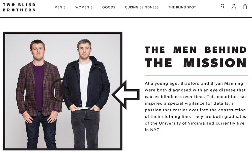 Two Blind Brothers relies on personal stories to sell its unique line of clothing.