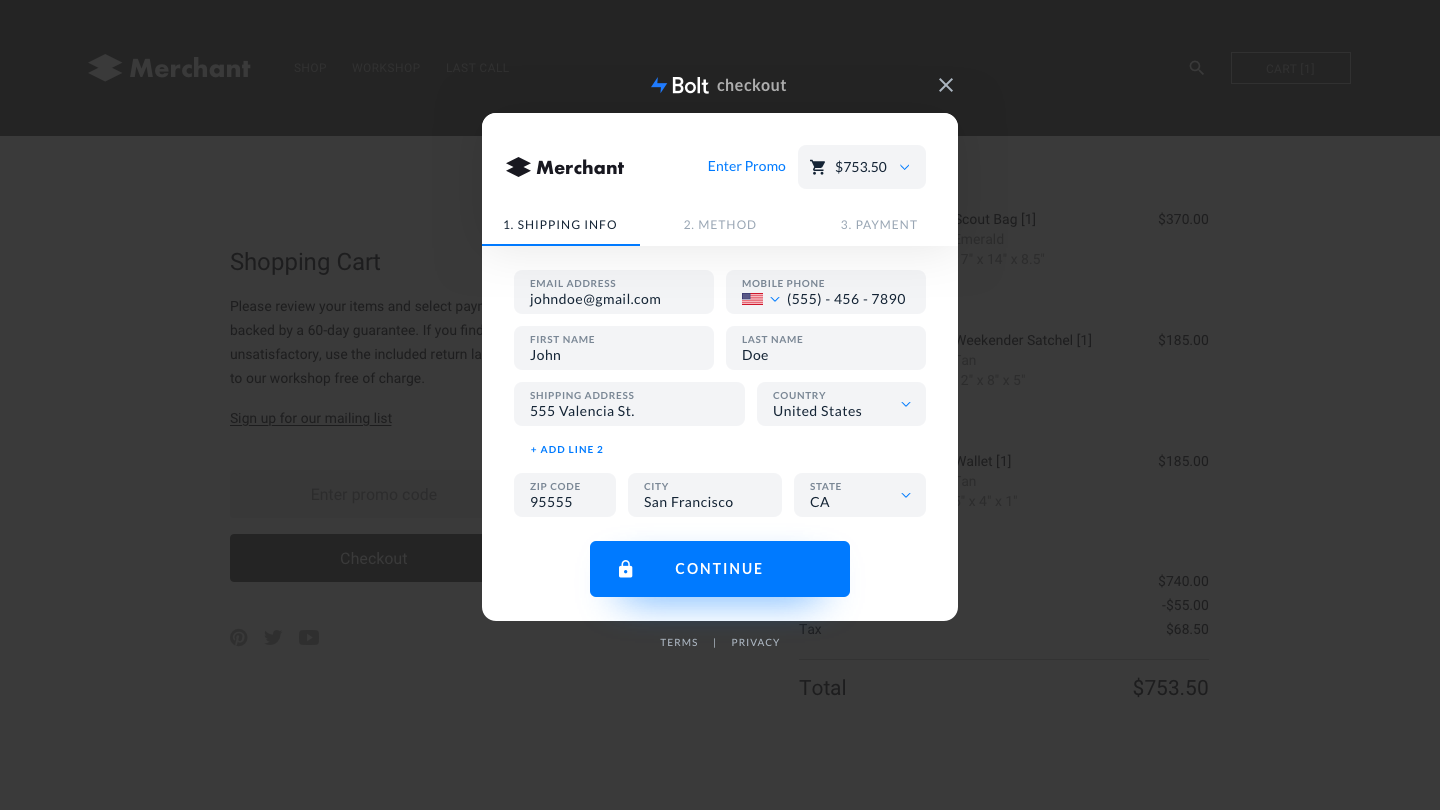 Bolt Checkout is a hyper-optimized, A/B-tested checkout interface. <em>(Click to enlarge.)</em>