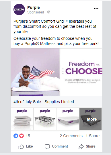 A 4th of July themed Facebook ad by Purple.