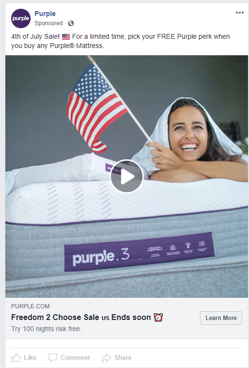 A 4th of July themed Twitter ad run by Purple.