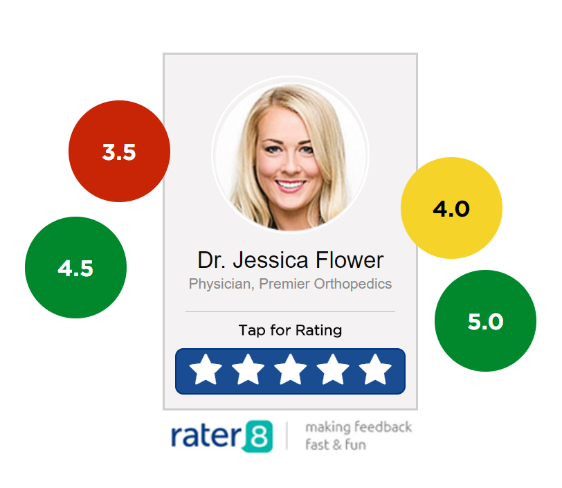 Make providing feedback fast, focused and fun with rater8's 1-click, 5-star rating system.