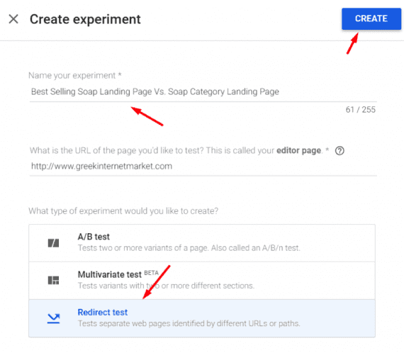 "Name the experiment, select ""Redirect test,"" and click ""Create."""
