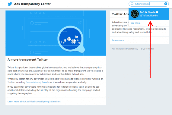 Search for the page you're looking for in the Twitter Ads Transparency Center.
