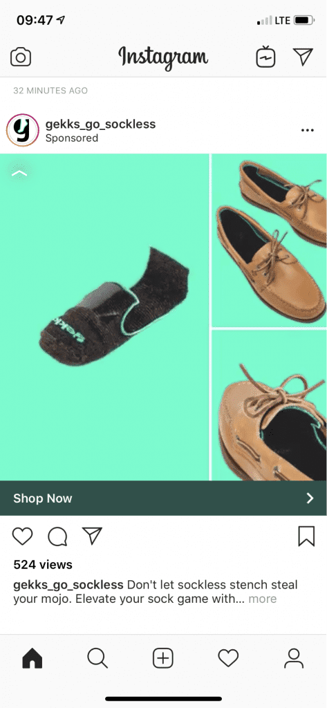 This ad from Gekks for socks could use some work. The colors blend into each other and the ad does not show people using the product.