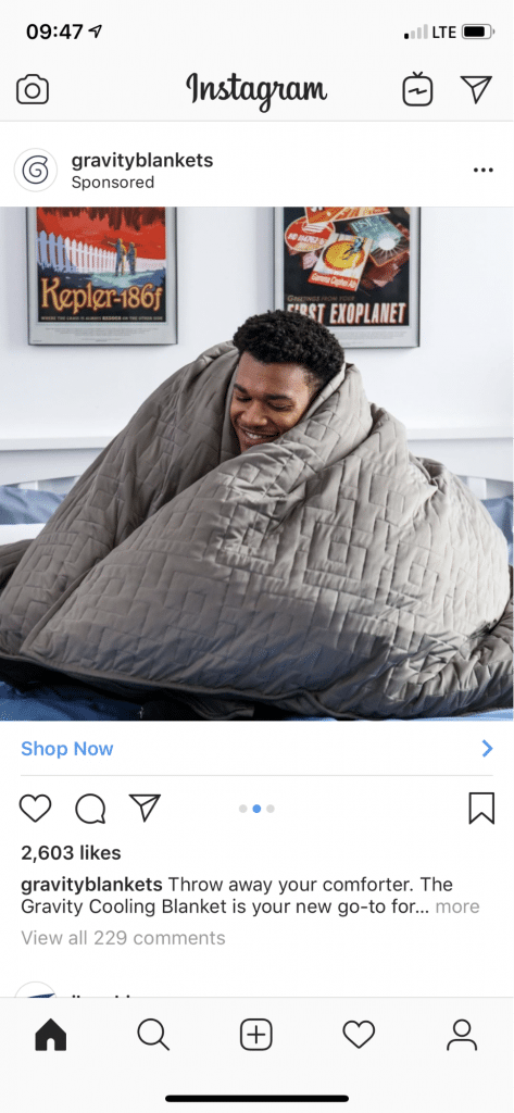 This ad from Gravity Blankets shows the product in three ways, including people using it.