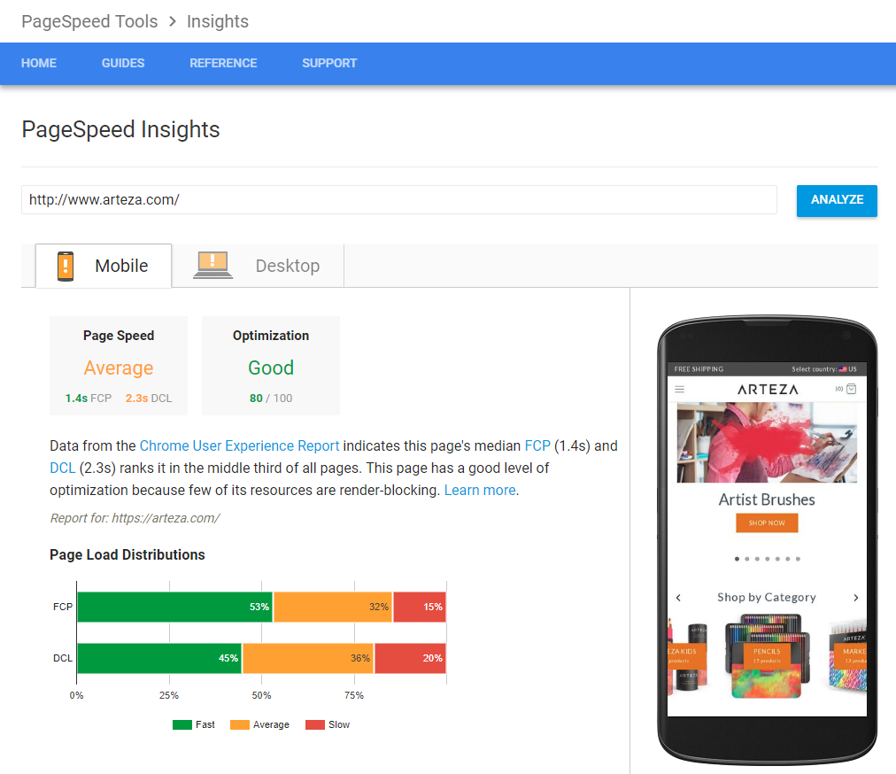 PageSpeed Insights provides a marketing-friendly view of site speed metrics and suggestions.