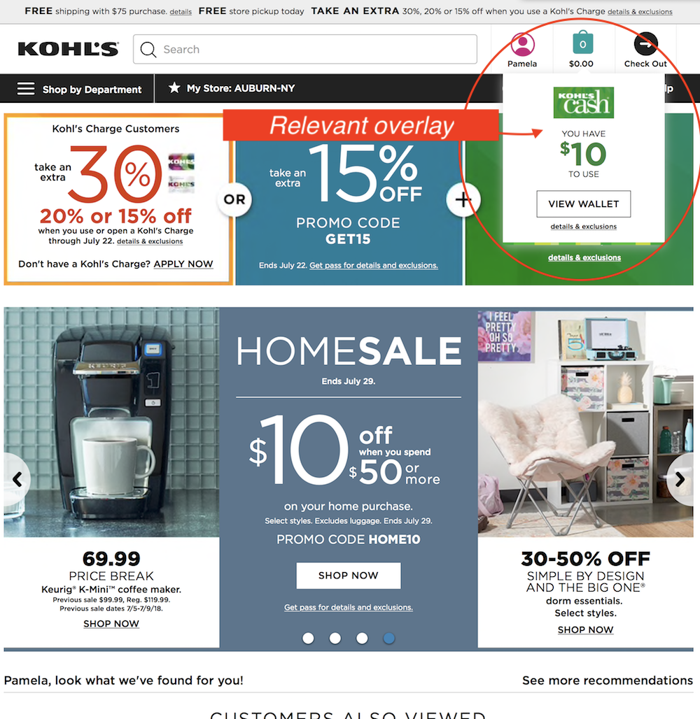 Kohl's overlay hyping available Kohl's Cash.