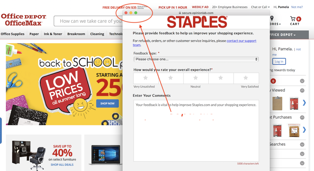 Popup window at Staples' site