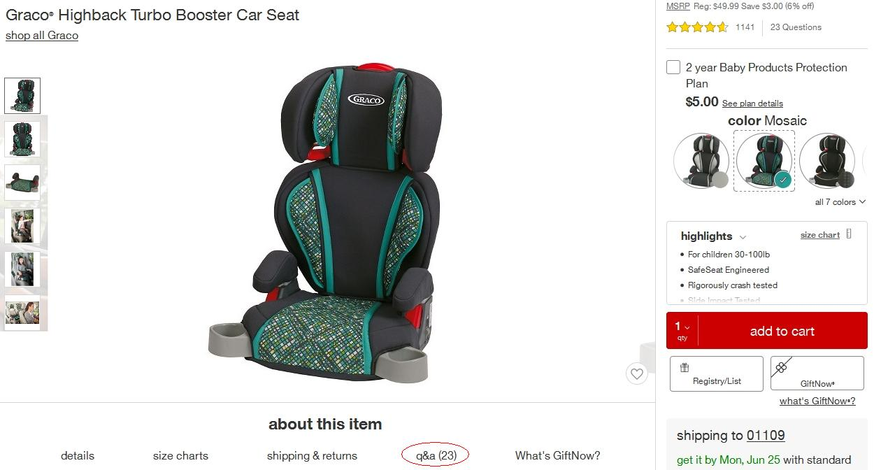 Target's listings show how many Q&As an item has — 23 in this example.