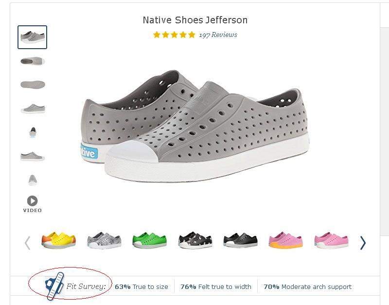 "Zappos' shoe listings include figures from its ""fit survey"" on how buyers felt the shoes fit."
