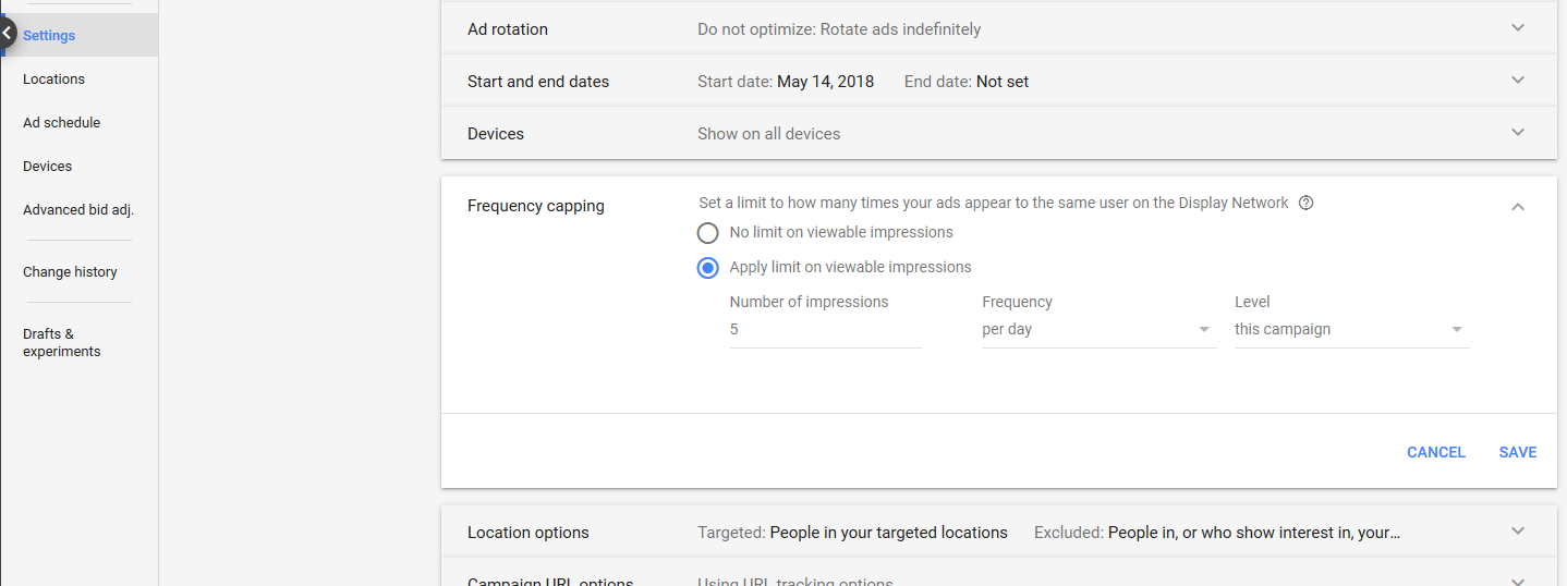 Settings > Frequency capping in GDN campaign interface. In this section, you can tell Google to only show your ad a certain number of times per day, week, or month by ad, ad group, or campaign.