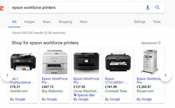 Google Shopping ads can dominate the search results for physical products.