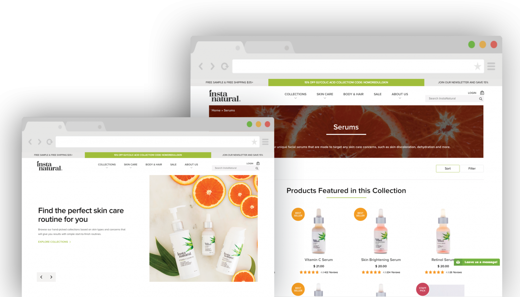 InstaNatural, a Shopify Plus online store for high-quality skincare products. Codal designed and developed the website and integrated many third-party applications and tools. <br><em>(Click to enlarge.)</em>