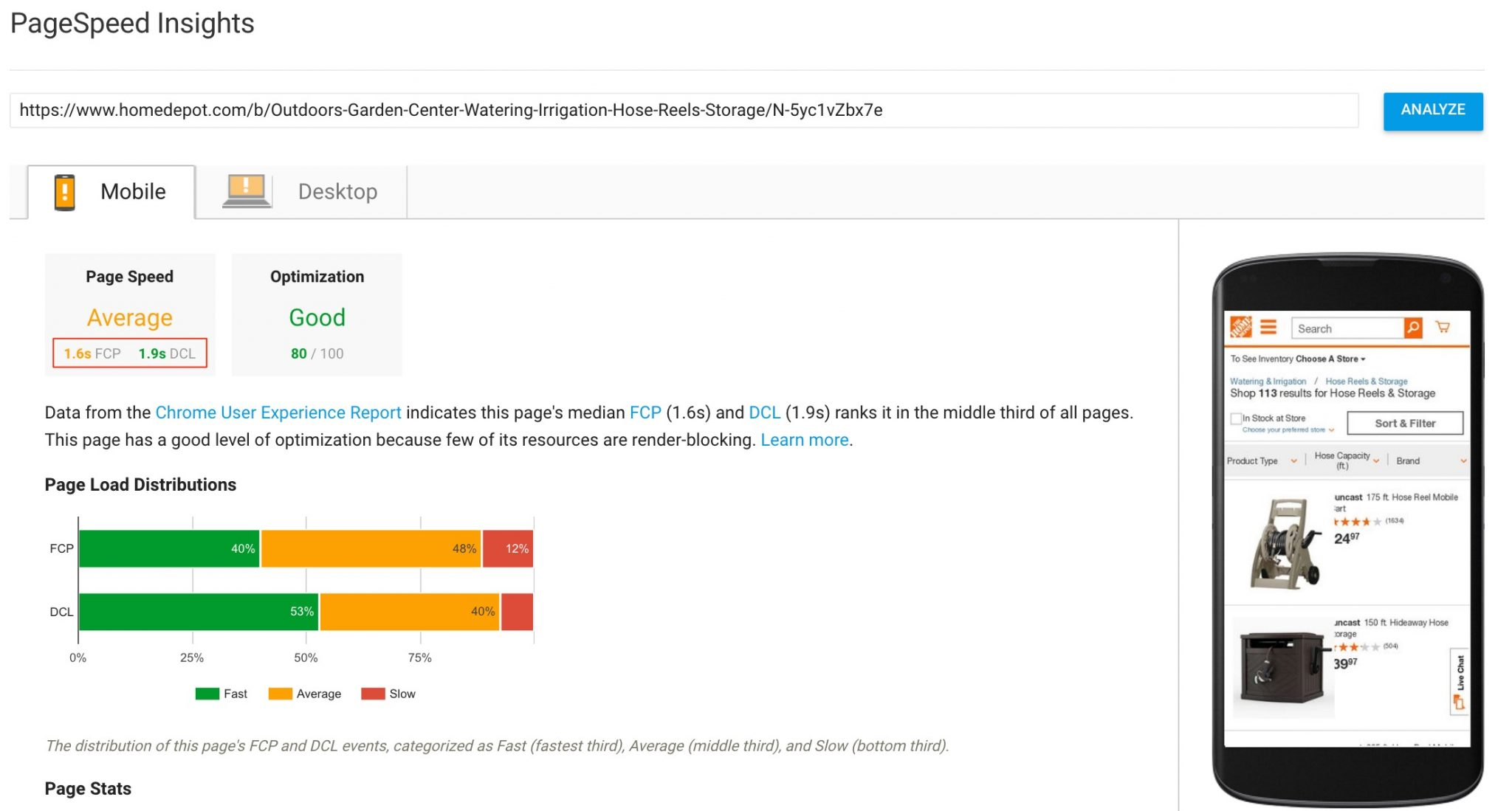 Page speed report for The Home Depot from Google's PageSpeed Insights. Click image to enlarge.