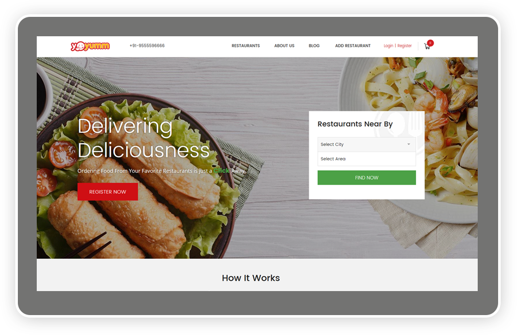 Launch an online food ordering website with advanced review management system using Yo!Yumm.
