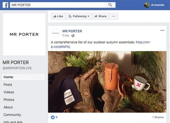 Mr Porter regularly posts content links on its social media channels.