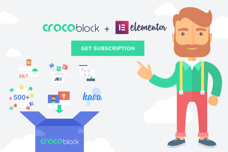 CrocoBlock in an all-in-one subscription service for building websites with Elementor.