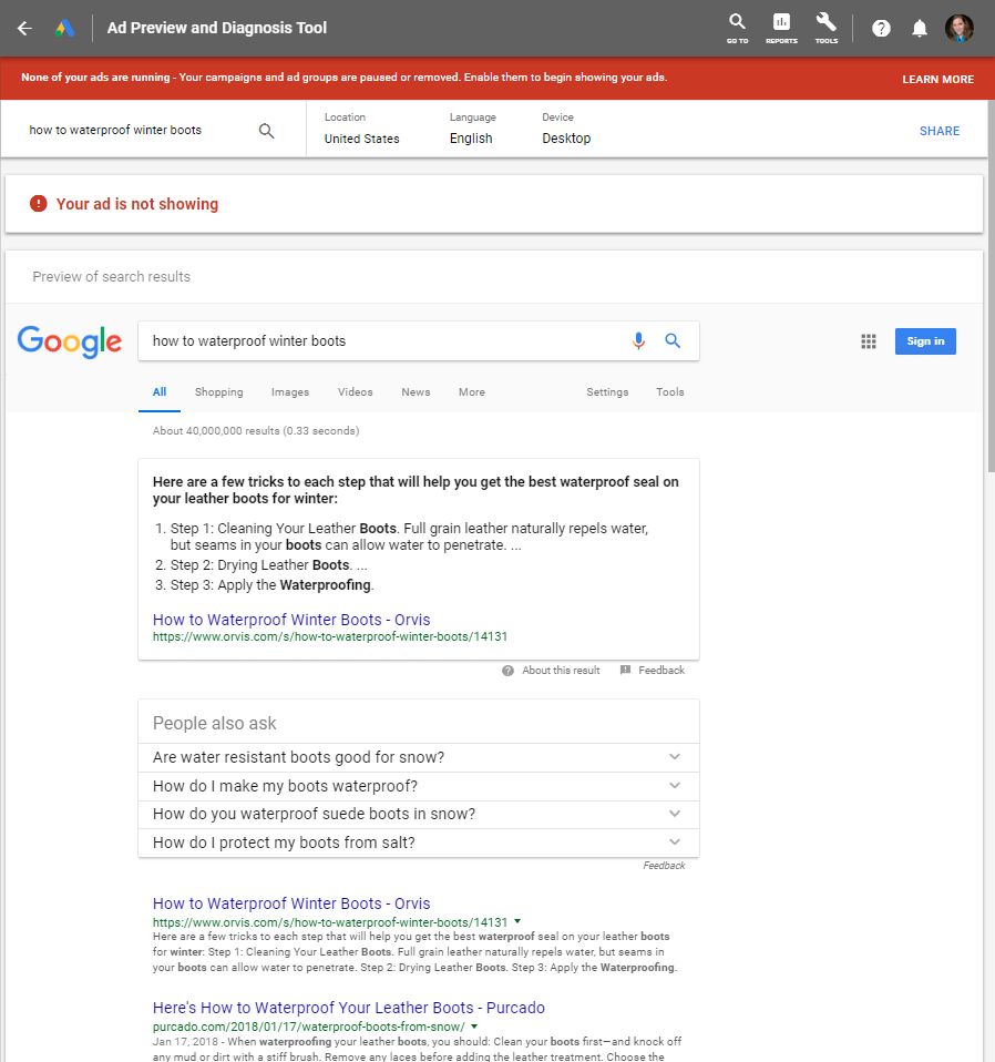 Google AdWords Preview and Diagnosis
