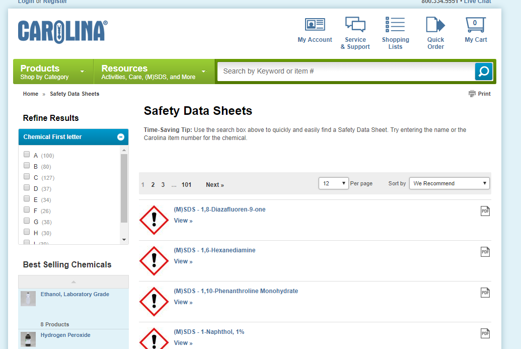 "In its main ""Resources"" section, Carolina Biological Supply includes a page of all of its safety data sheets."