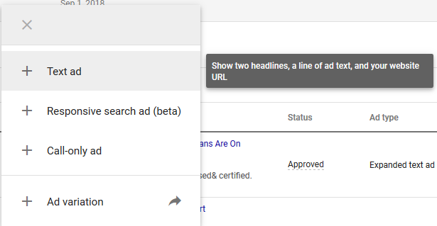 Navigate to your Google Ads account and view some ads. Click the blue plus sign icon to create a new ad.