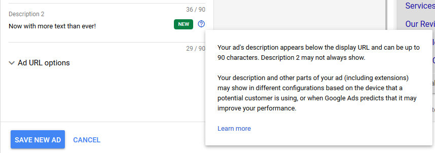 Google can vary the order of extensions and description text.